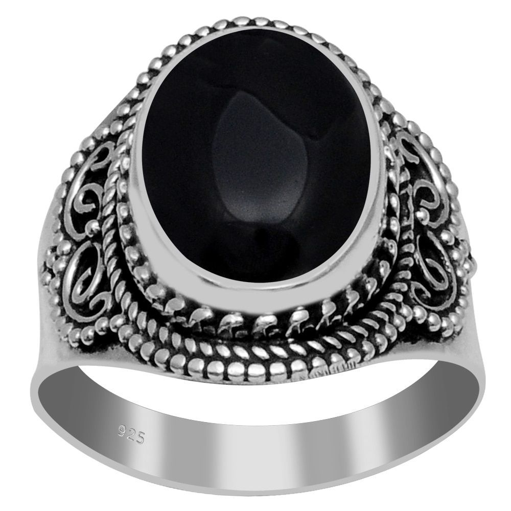 Orchid Jewelry 925 Sterling Silver 4/5 Carat Black Onyx Ring