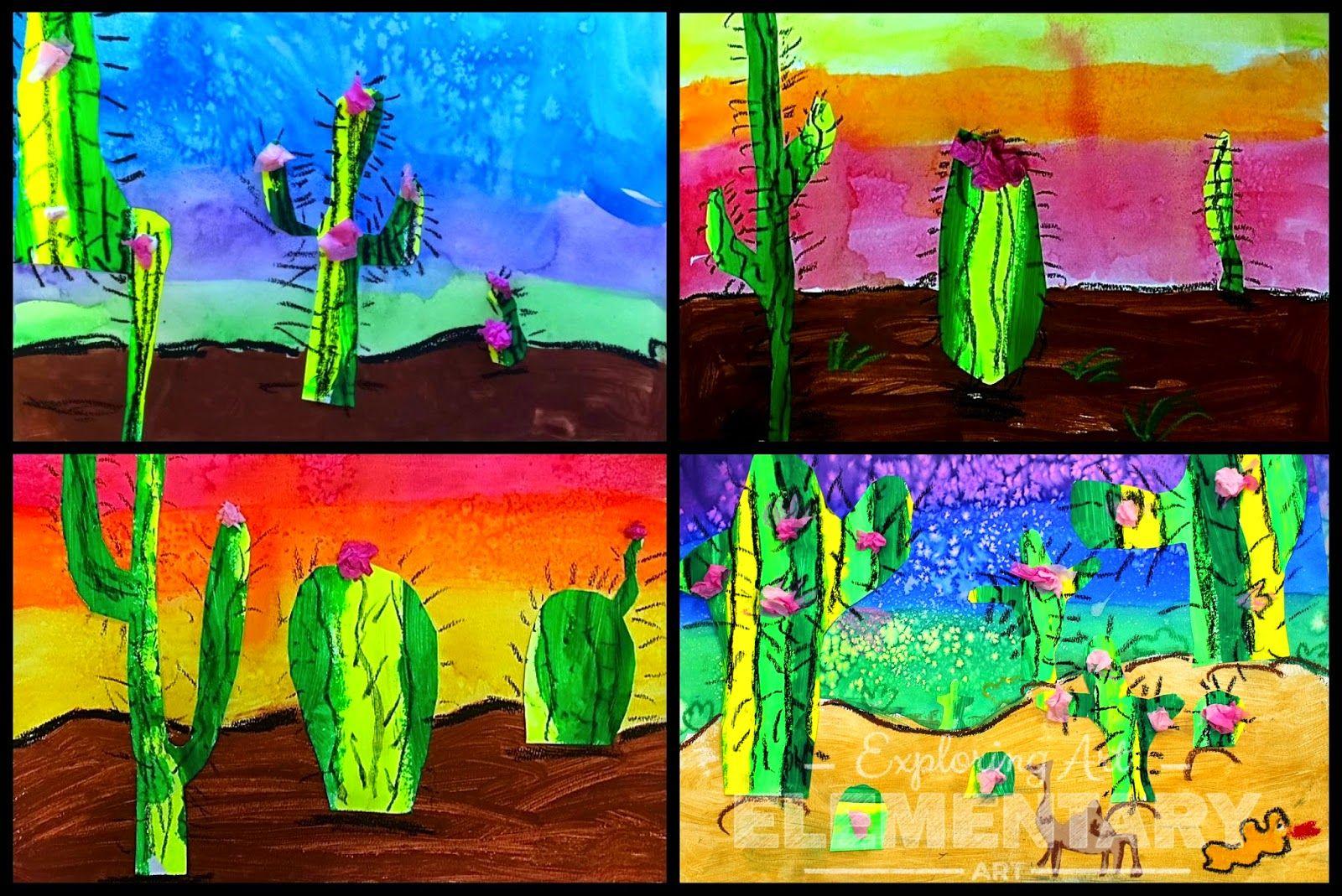 2nd Grade Desert Landscapes Exploring Art Elementary Art