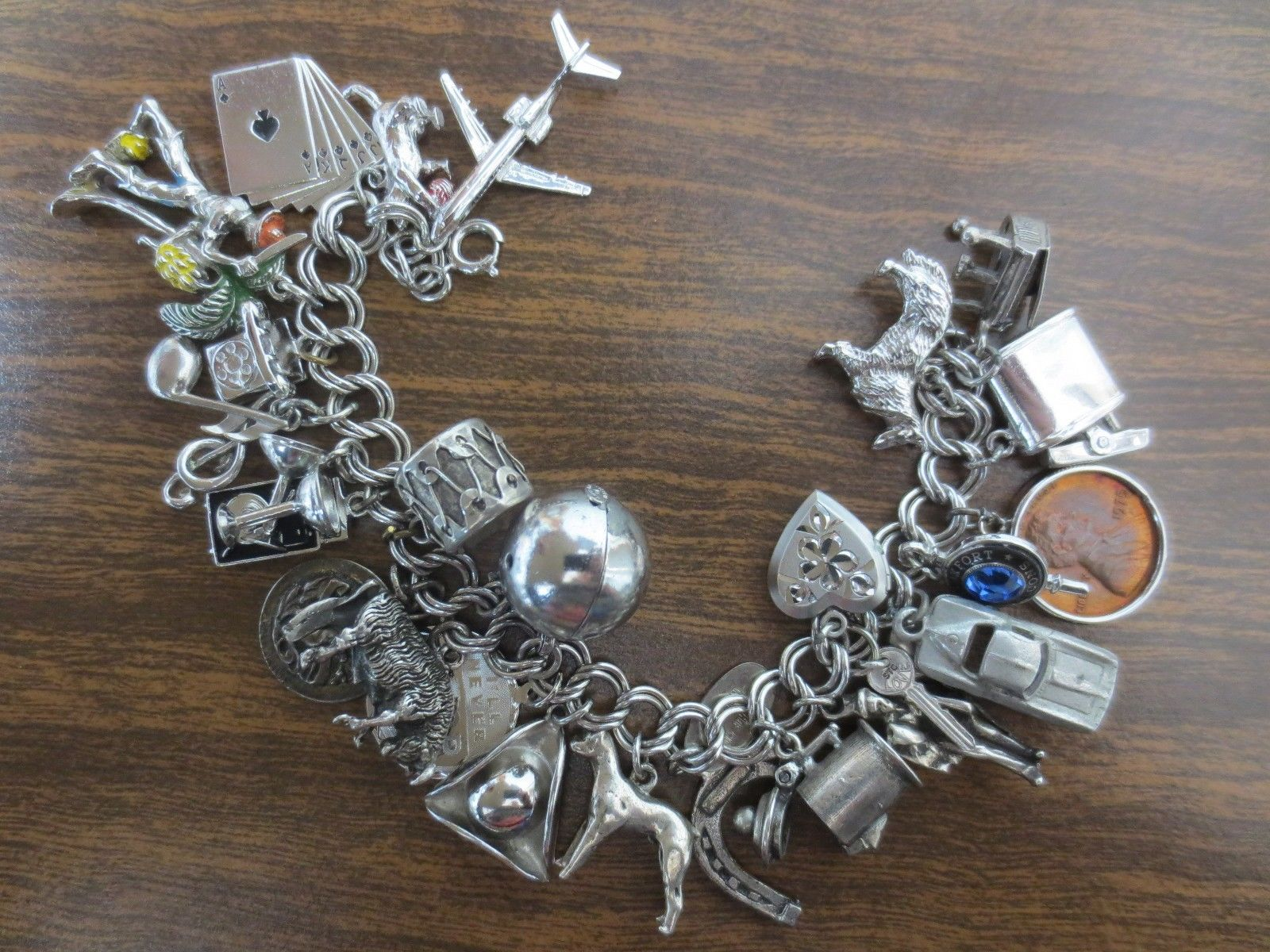 Loaded Vintage Sterling Silver Charm Bracelet w 26 Old Charms Heavy 105 3 Grams