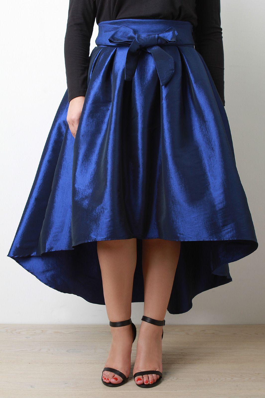 18c09211e9795 Plus Size Evening Taffeta Pleated High-Low Midi Skirt
