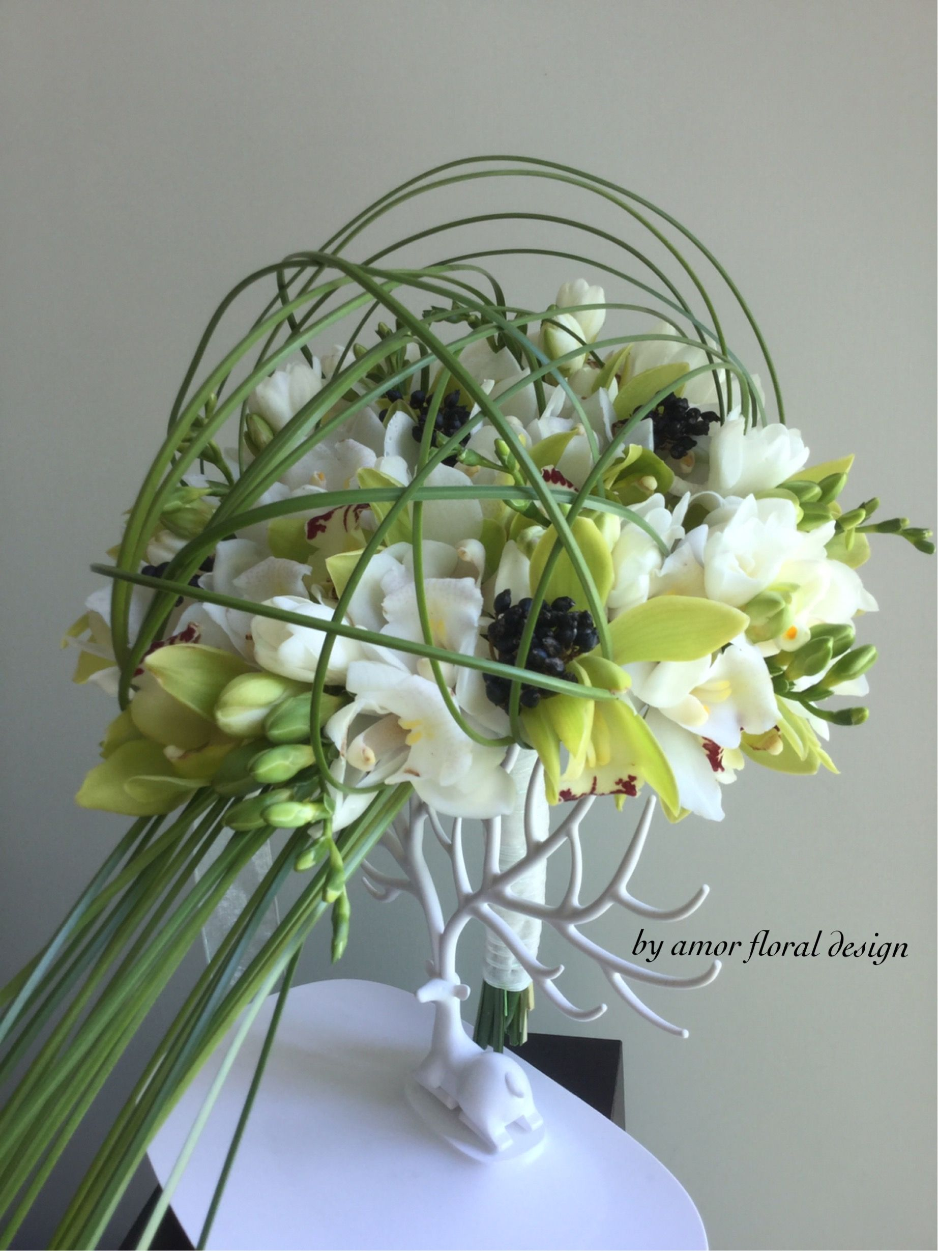 Orchid Hand Tied Bouquet Black And White Colour Combination Bring