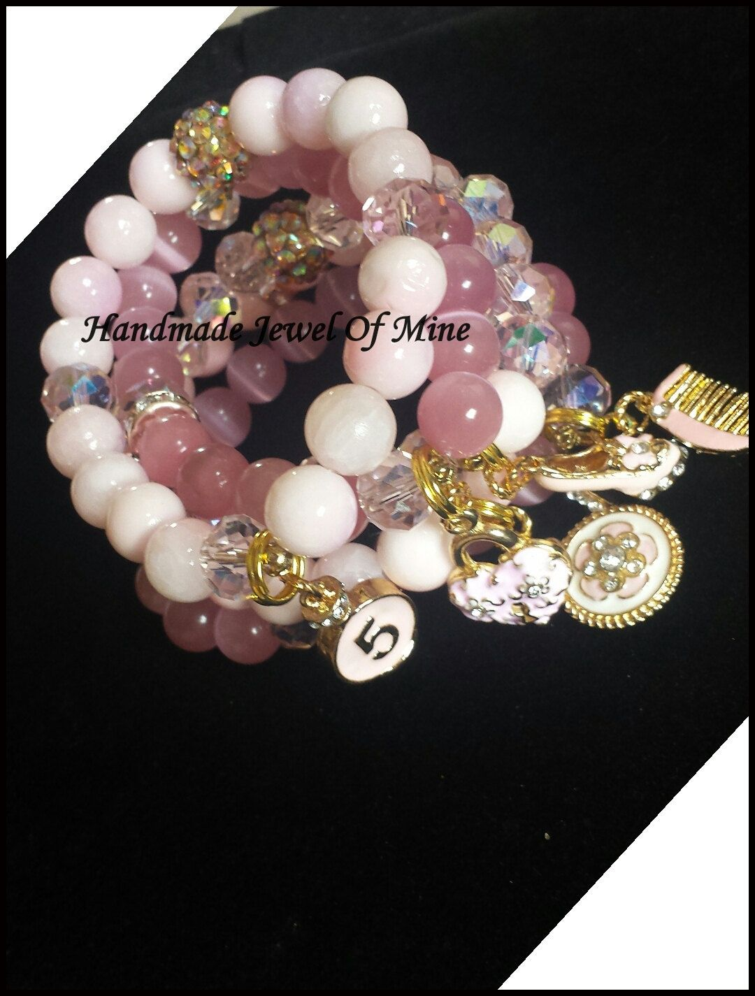 Pink Quartzite Glass Stretch Bracelets Chanel Charms Stackable