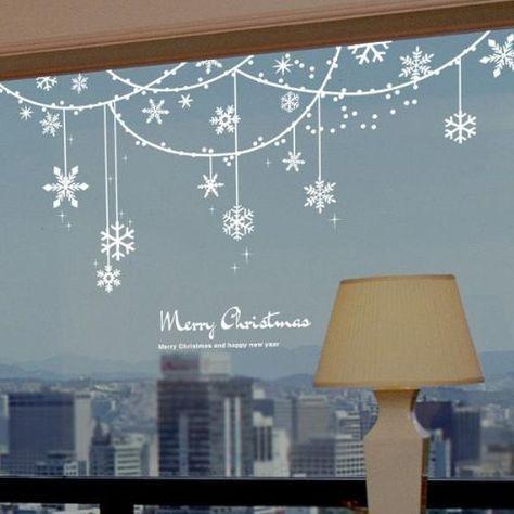 Noël Autocollant Pour Fenêtres Vitrine Display Home Decor Festif Noël Autocollant