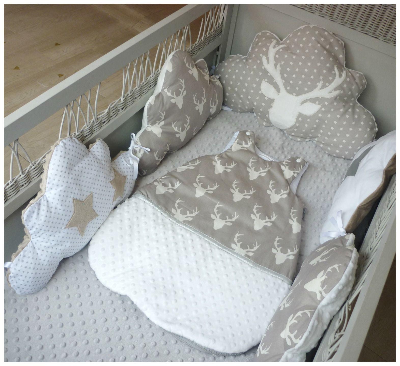 fr tour de lit bebe nuage tete de cerf blanche argent et taupe couture pinterest t tes de. Black Bedroom Furniture Sets. Home Design Ideas