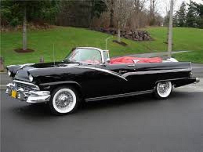 1956 ford sunliner convertible without skirts  black