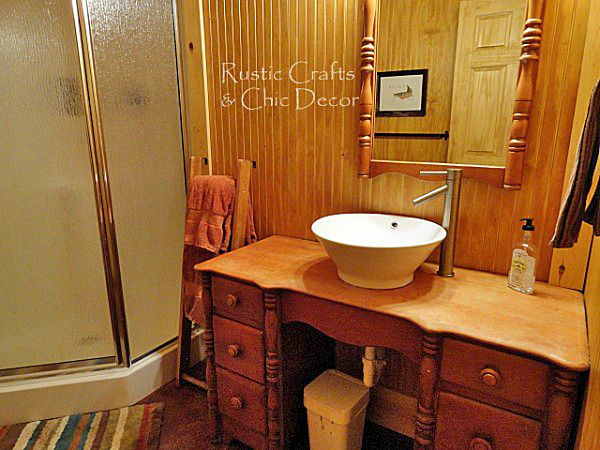 Inexpensive Vanities For Bathrooms used antique desk vanity for our cabin bathroom was very