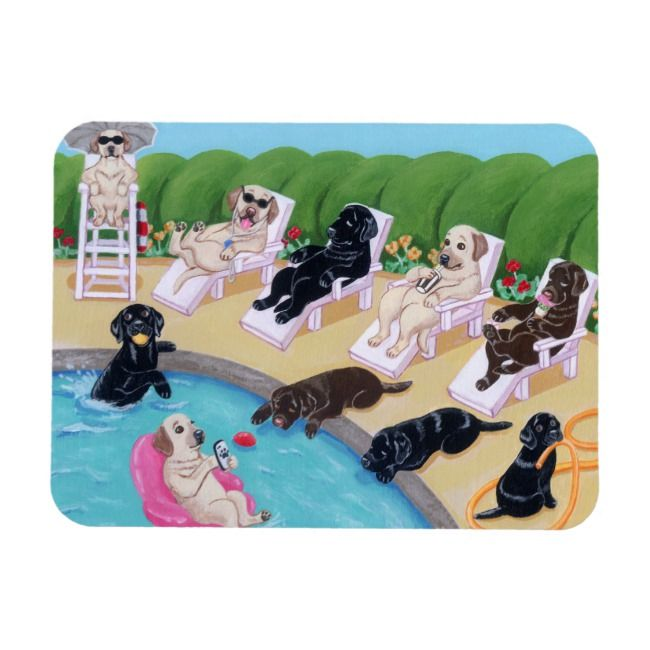 Poolside Party Labradors Painting Magnet