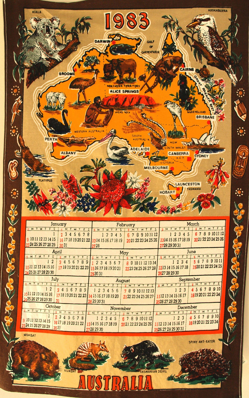 Retro Australia Calendar 1983 Map Koala Souvenir Kitsch Tea Towel