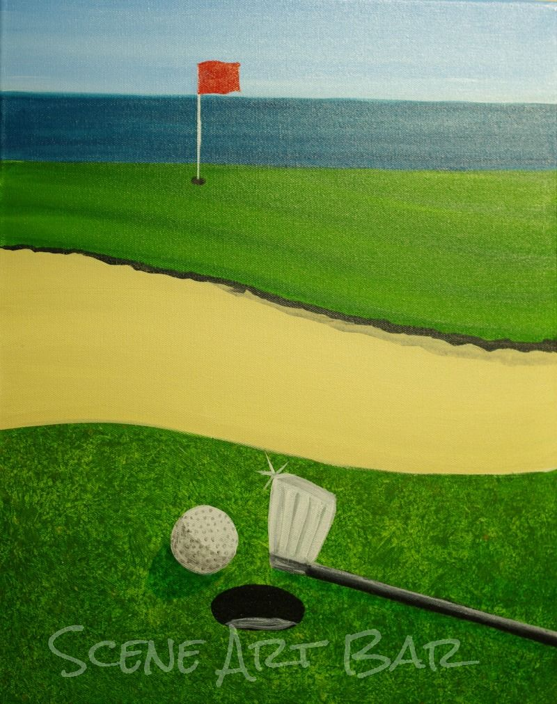 golf watercolor painting print golf art watercolor print sport step by step acrylic painting of golf course
