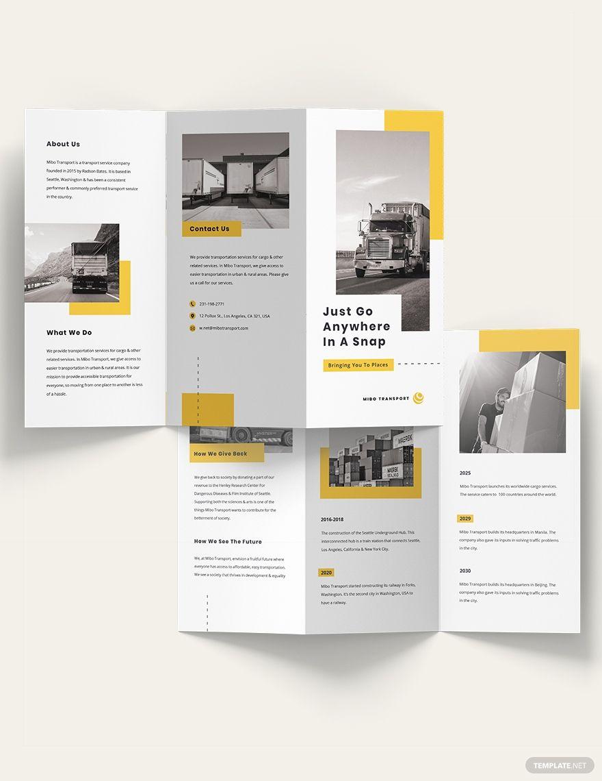 Automotive and Transportation Tri-Fold Brochure Template: Download 10+ BrochuresAdobe Illustrator | Adobe PSD |  InDesign | Word (DOC) | Publisher | Apple (MAC) Pages.