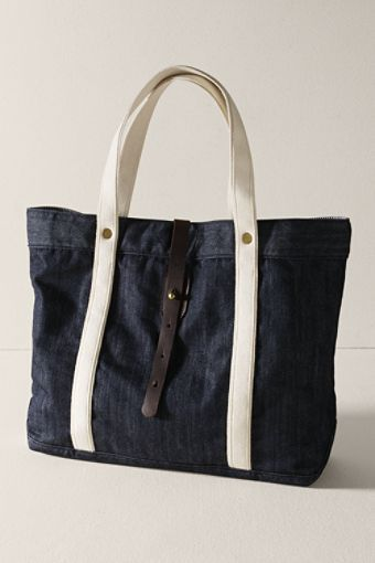 36a688321 Denim Leather Tote Bag // Denim mixed with Canvas is awesomeness ...