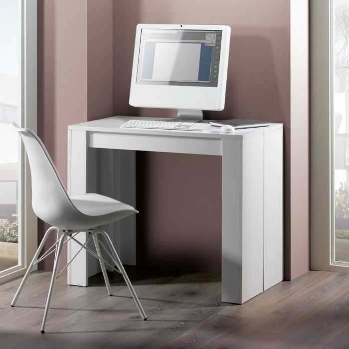 Console extensible 225cm Swithome Cleaver Blanche - CONSOLES - SALON - photo de salon salle a manger
