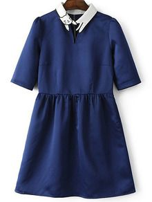 Deep+Blue+Lapel+Cat+Embroidery+Zipper+Dress+US$21.99