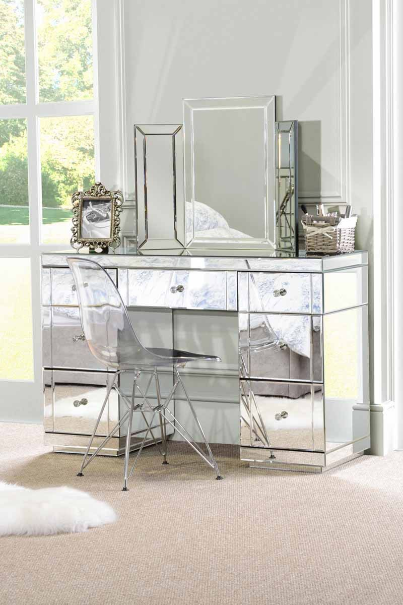 Valeria Luxury Mirrored Dressing Table Desk Mirrored Bedroom