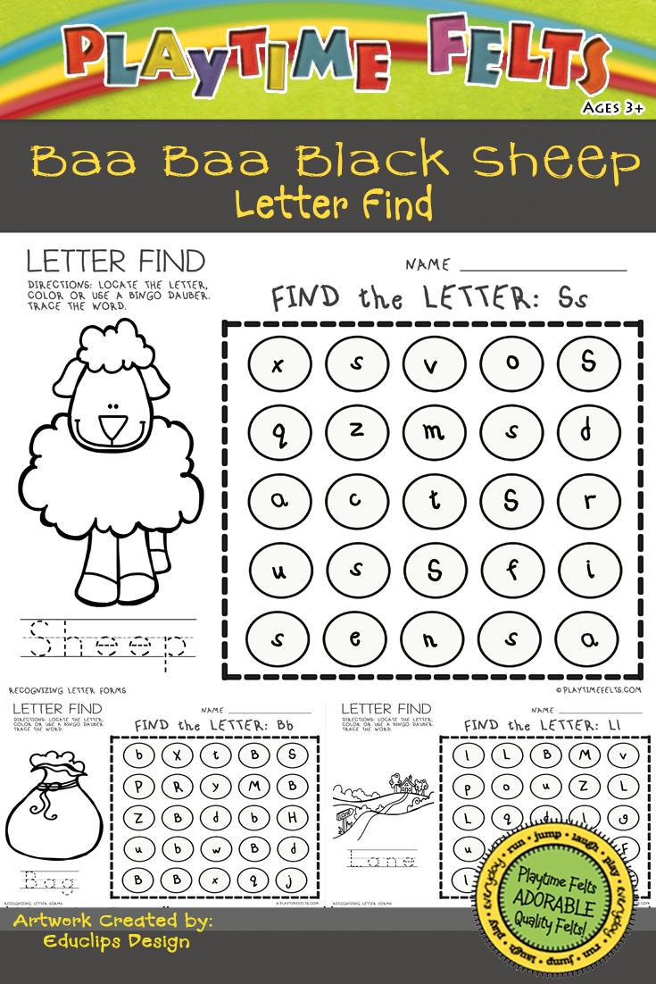 Baa Baa Black Sheep Activity Worksheets For Preschool By Playtime Felts Nursery Rhymes Activities Rhyming Activities Letter Find [ 1102 x 735 Pixel ]