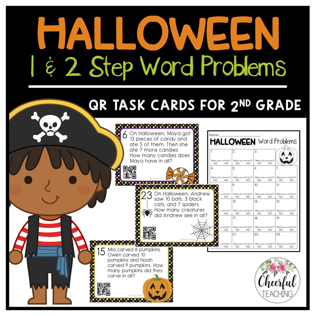 Halloween 1 Amp 2 Step Word Problem Task Cards With Qr