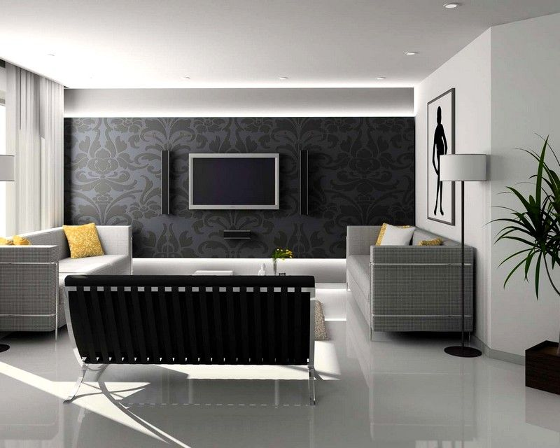 Living Room, Interior Black And White Contemporary Ideas With White Wall  Color And Curly Grey