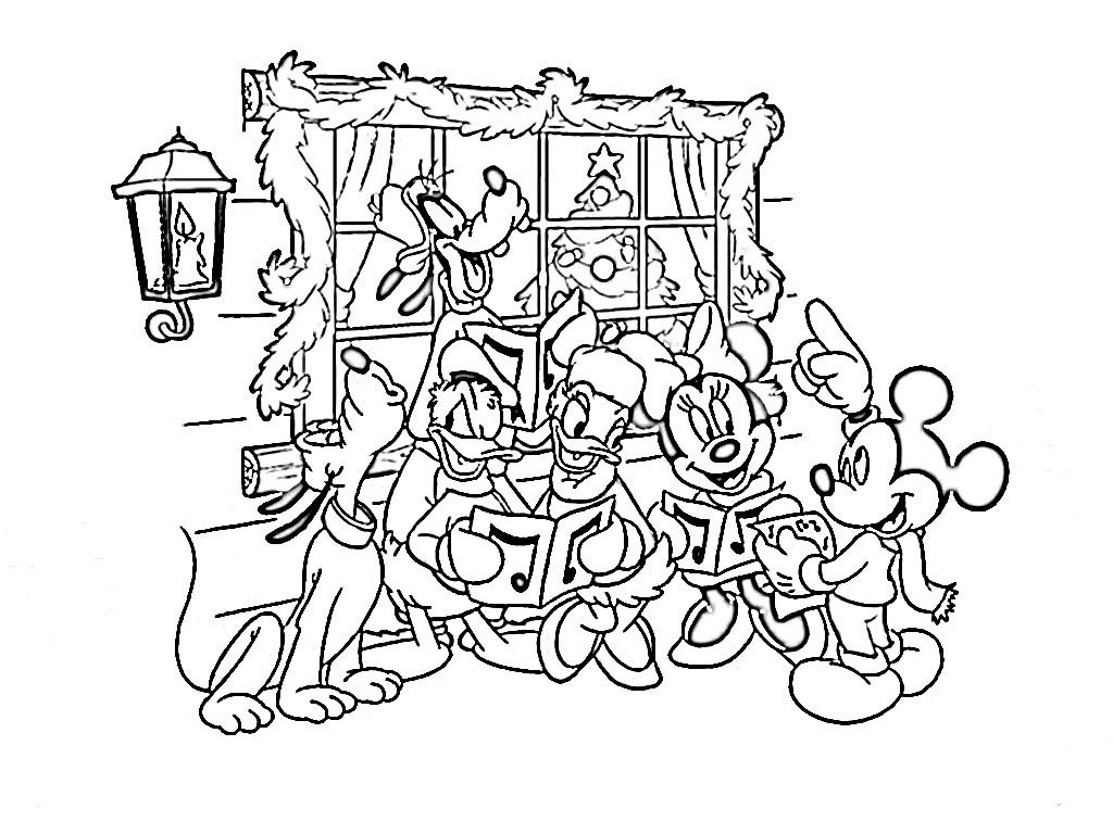 Free Coloring Pages Disney Christmas Cartoon