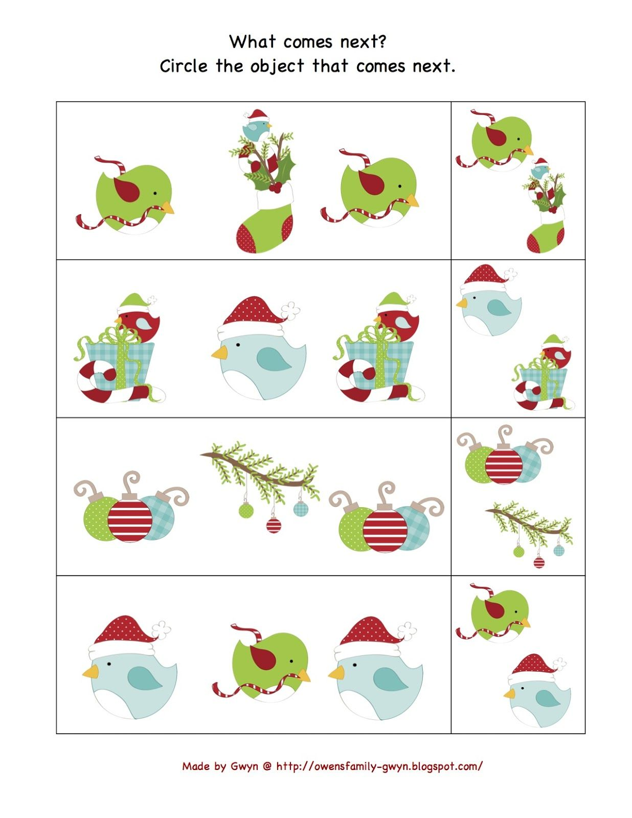 Preschool Printables Free Christmas Bird Theme