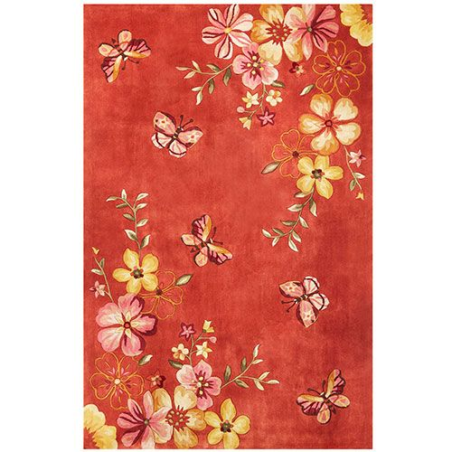 Butterflies Floral Area Rugs
