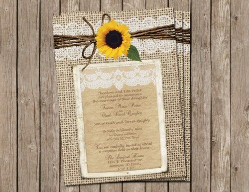 Digital Wedding Invitation Ideas: Burlap And Lace Wedding Invitation, Sunflower, Digital