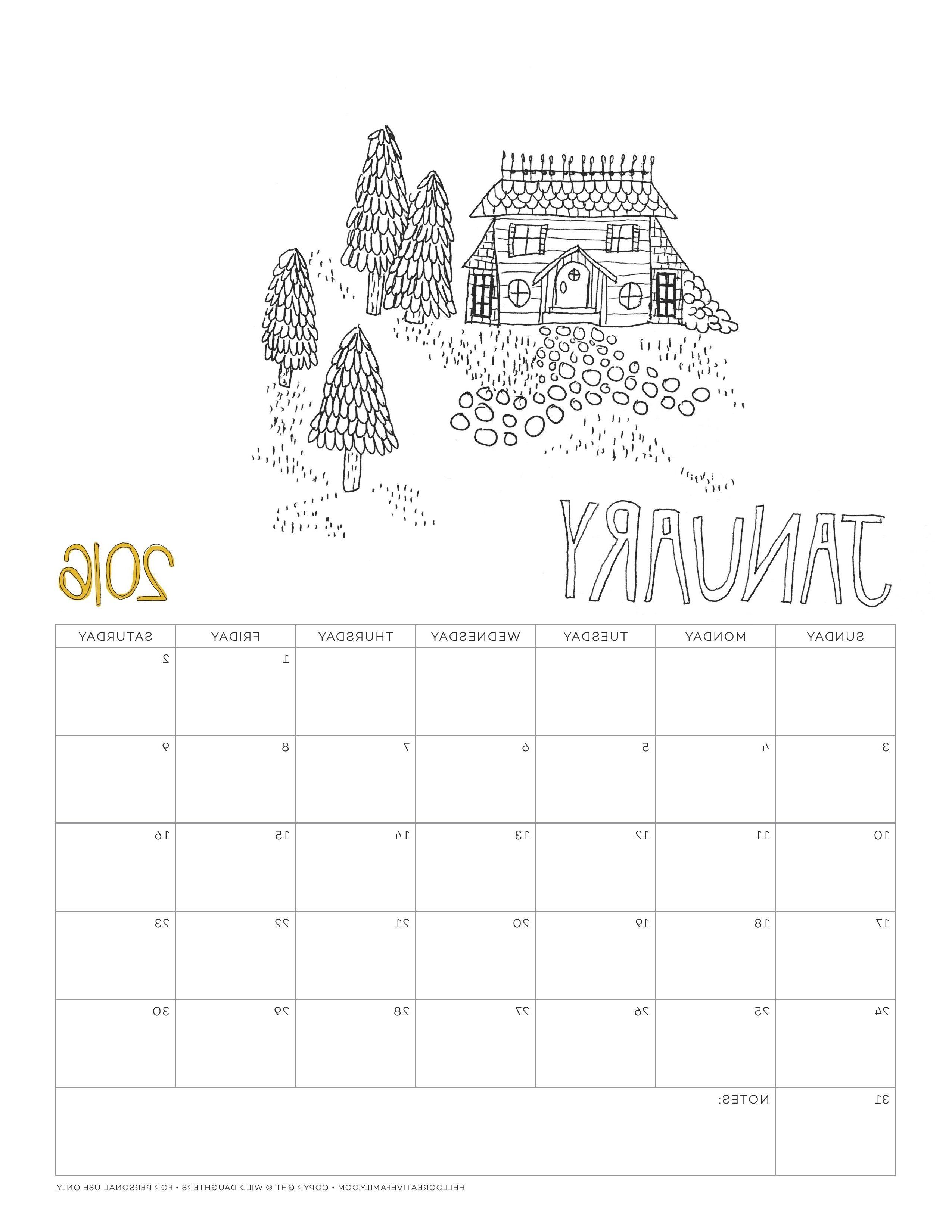 Coloring Calendar 2016