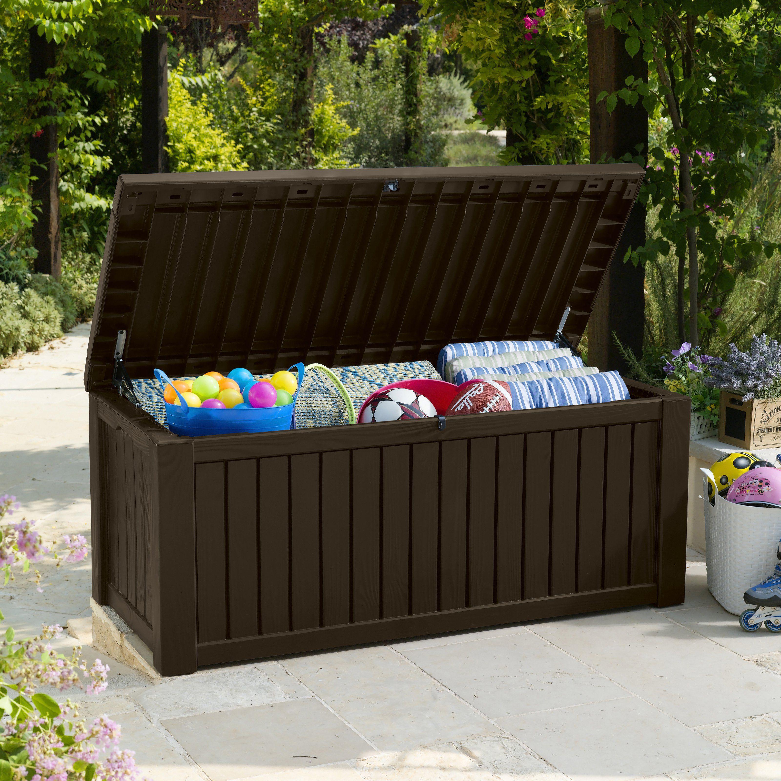 Keter Rockwood 150 Gallon Deck Box 214301 Www Hayneedle Com