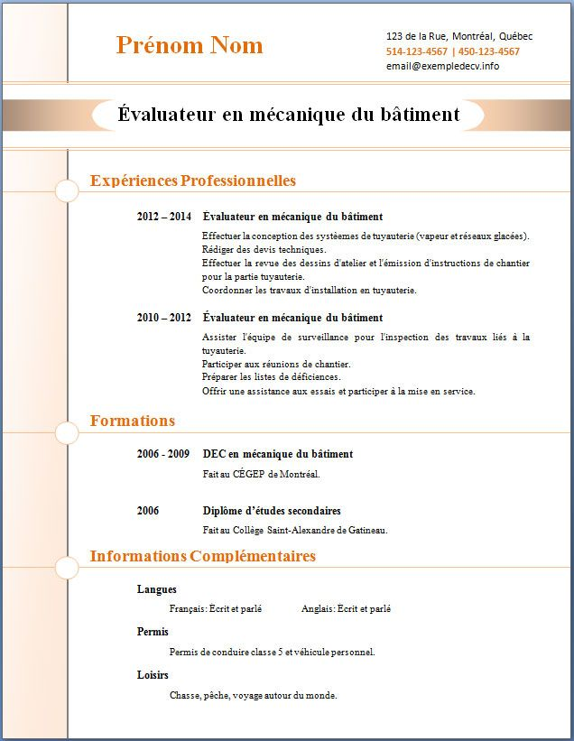 Exemple D Un Cv Fichier Word Modele Cv Telecharger Cv Exemple Cv
