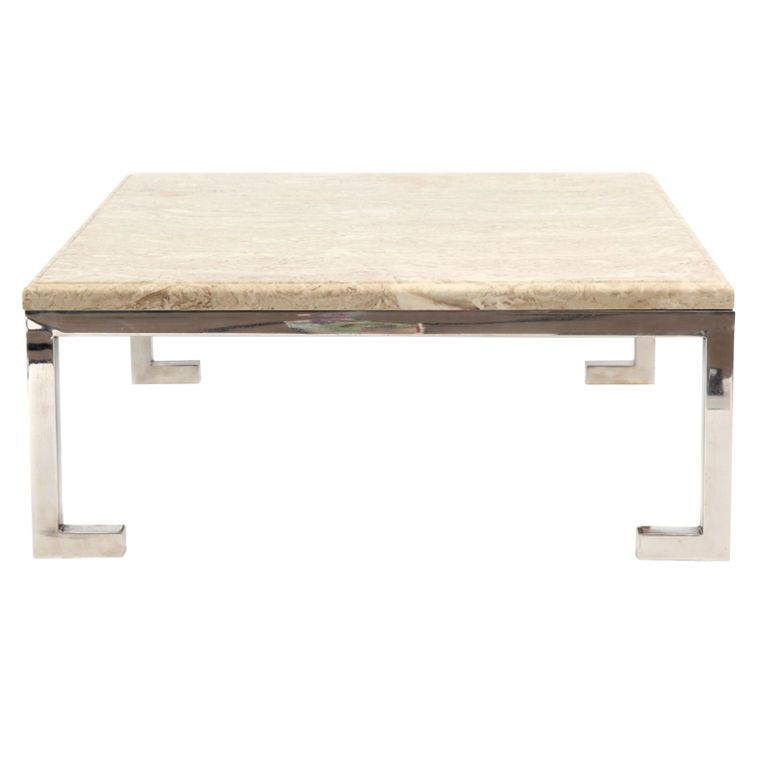 Elegant Square Travertine And Nickel Cocktail Table Tables