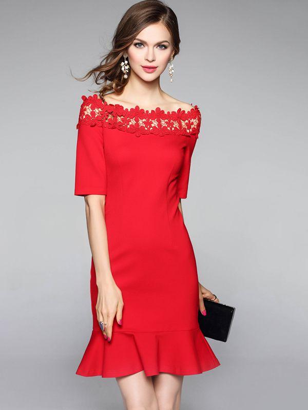 Red Off The Shoulder Fishtail Hem Mini Dress | Fashion | Pinterest