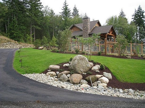End Of Driveway Landscaping Ideas Boulders Flag Stone Rock In