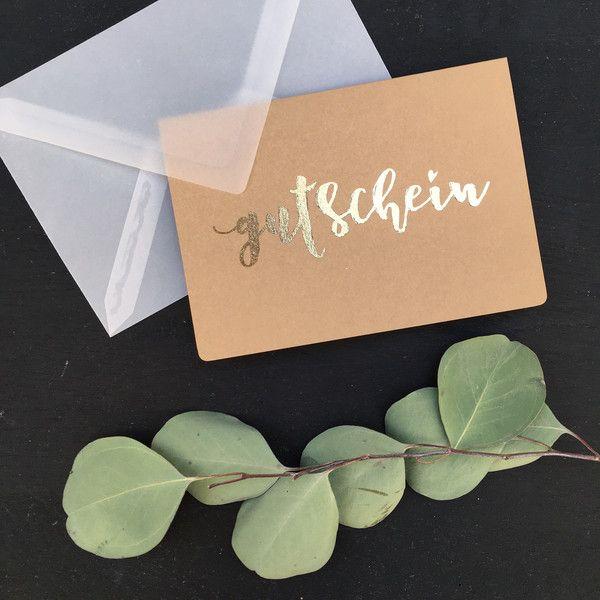 Postkarten - Karte Gutschein Gold Kraftpapier - ein Designerstück von zartmint-design bei DaWanda #gutscheinbasteln