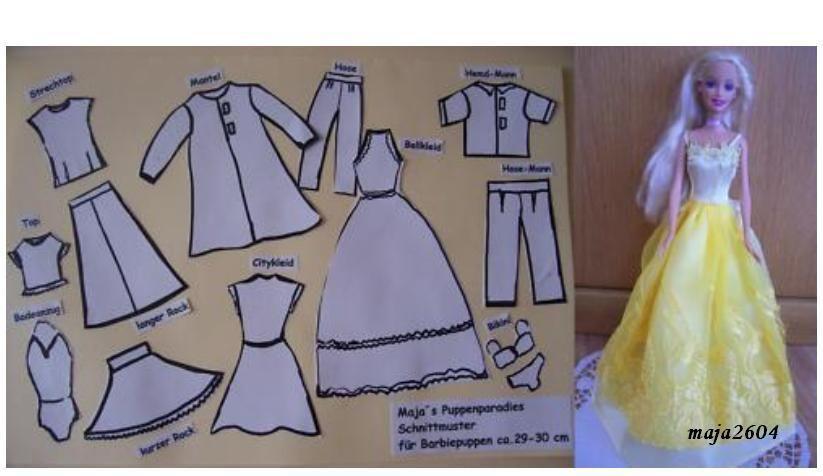 set schnittmuster barbie puppen puppenkleidung barbiekleider neu ebay kleidung pinterest. Black Bedroom Furniture Sets. Home Design Ideas