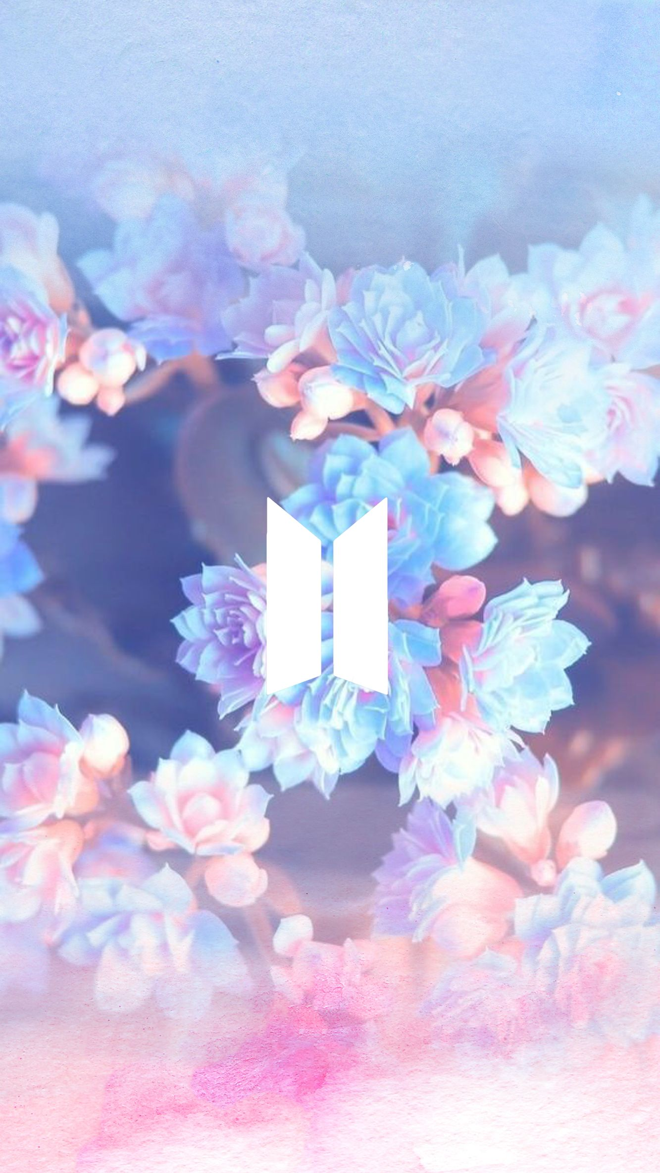 BTS's symbol over a pink and blue watercolor and flower
