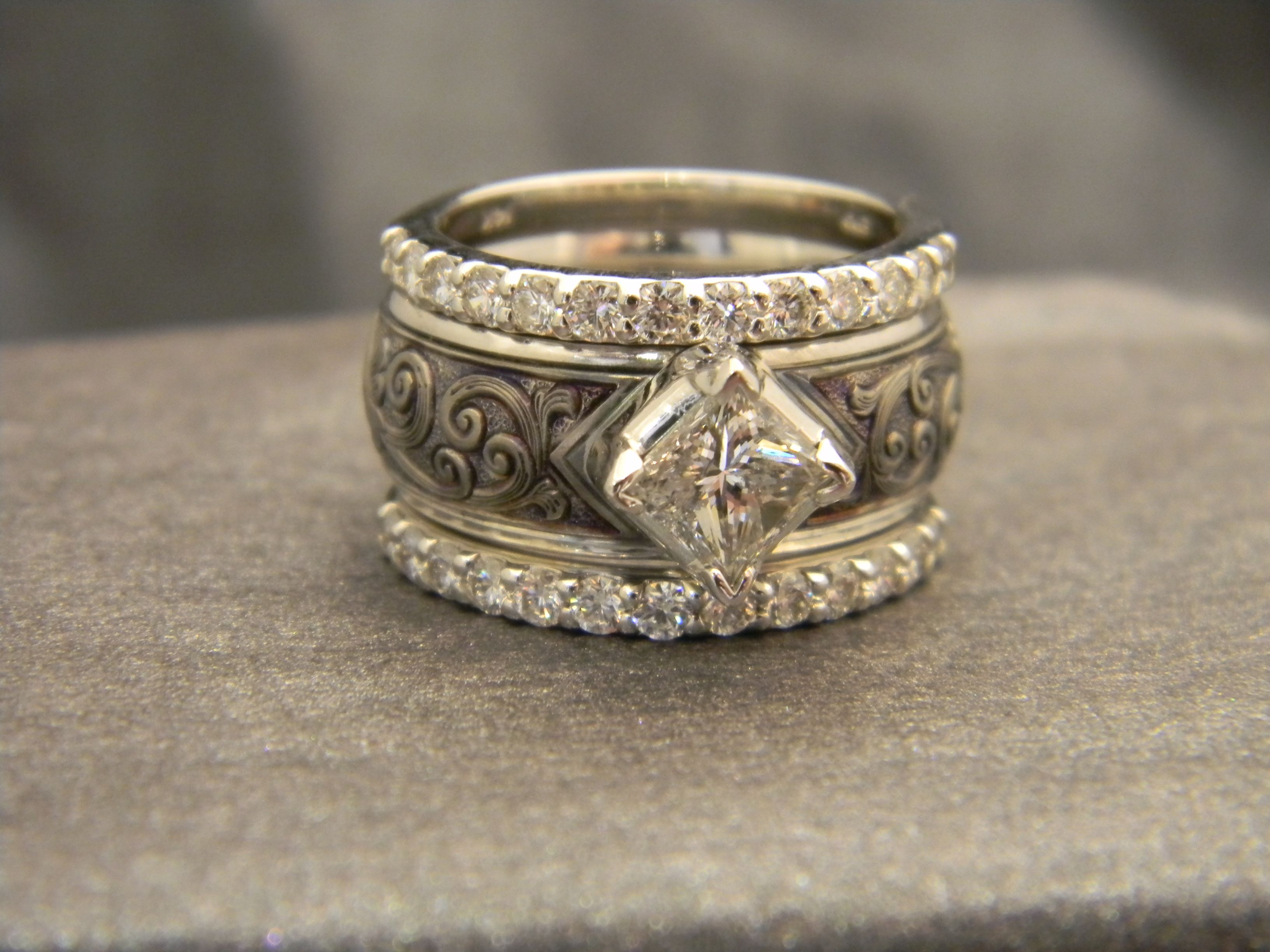 8mm Titanium ring with a 14K White Gold Wrap Deep Relief