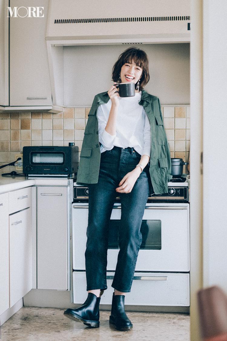 今日のコーデ 憧れはtシャツ デニムで絵になる人 ノンウォッシュのブラックデニムを新調して ファッション ファッションスタイル 秋冬 ファッション 20代
