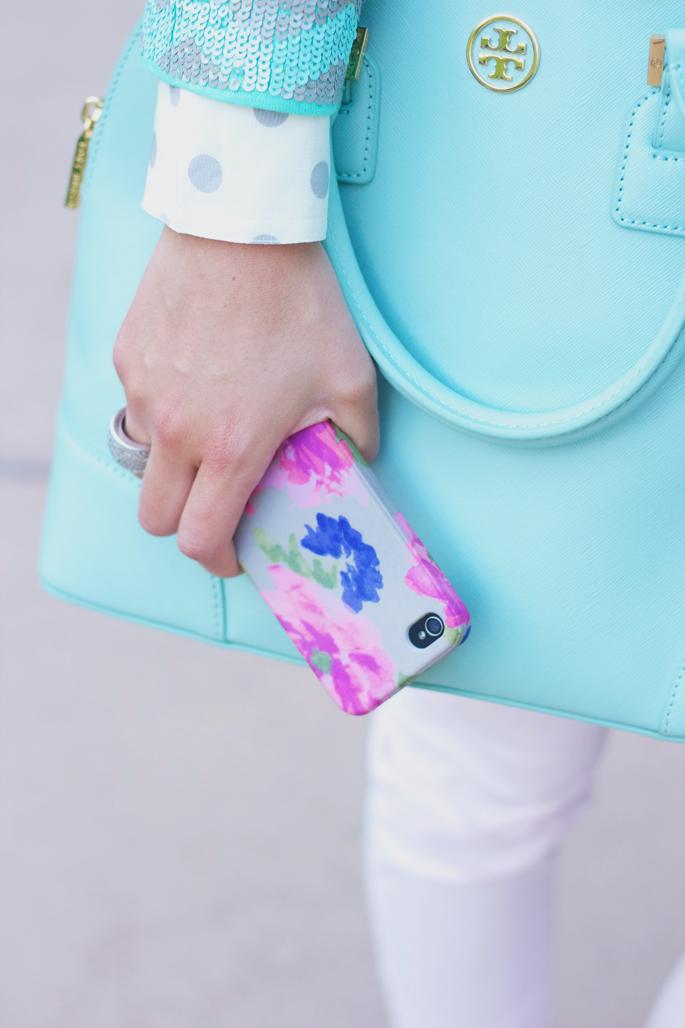 mint Tory Burch bag, floral JCrew phone case
