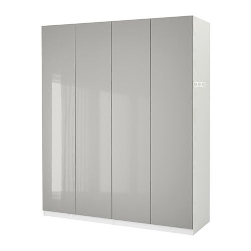 Pax Wardrobe White Fardal High Gloss Light Gray 78 3 4x23 5 8x79 1 4 Pax Wardrobe Large Living Room Furniture