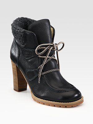 41c7f056 See by Chloe Leather and Wool Lace-Up Ankle Boots | Style ...
