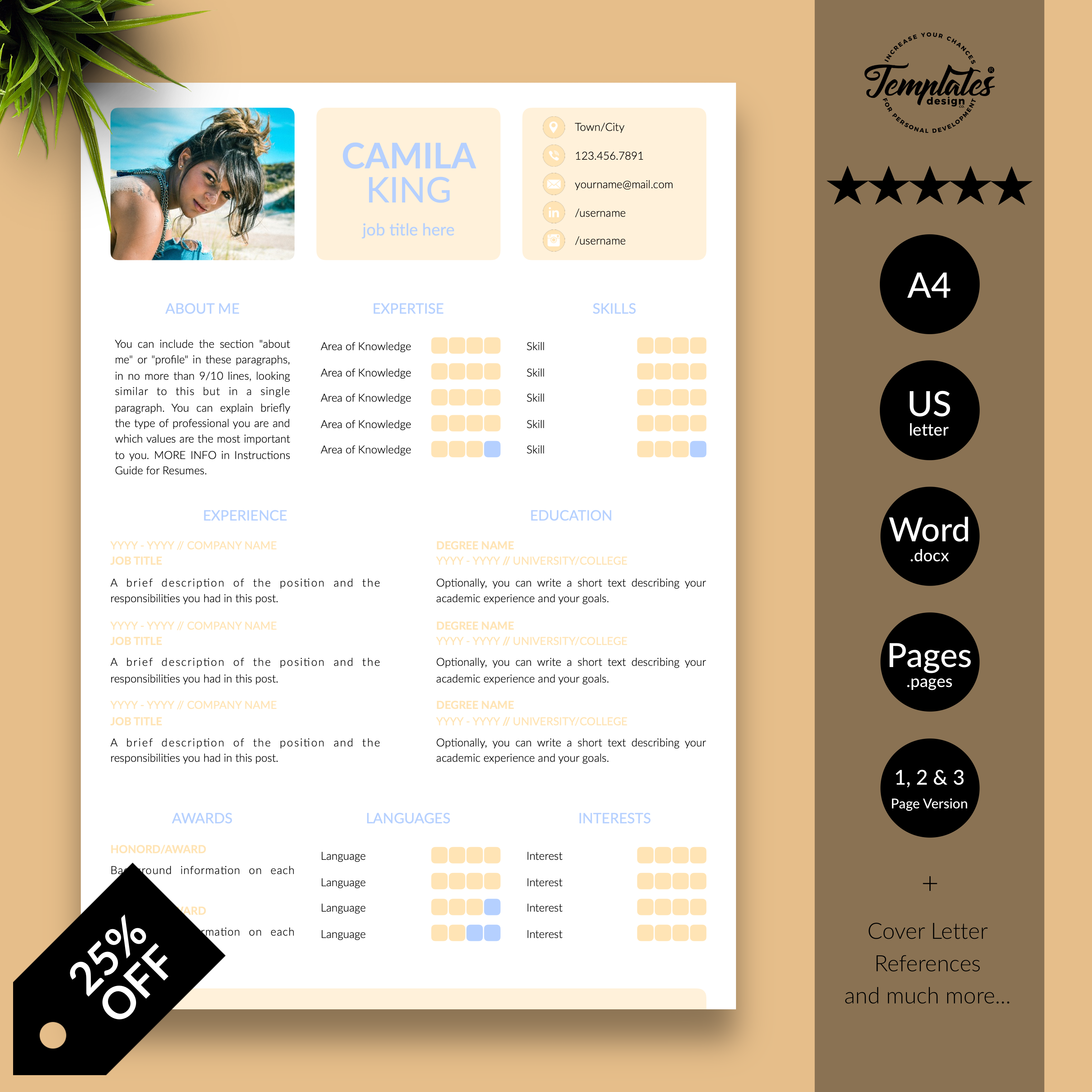 Modern Cv Resume For Word Simple And Clean Cv Template Etsy Modern Resume Template Cv Template Reference Letter Template