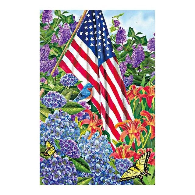 USA Garden Flags Design With Welcome Americam Flag Home Decorative Flag 100% Polyester Yard Banner 12.5 X 18 Inch Double Sides