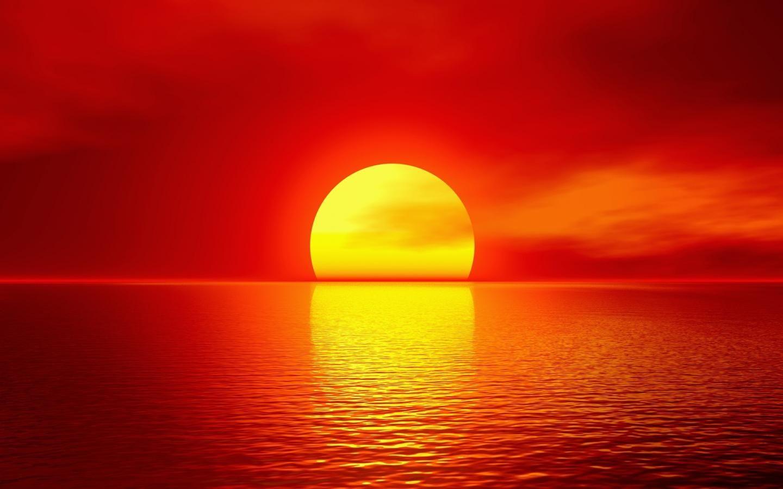 Fondo de Sol amarillo bajo un cielo rojo - Wallpaper