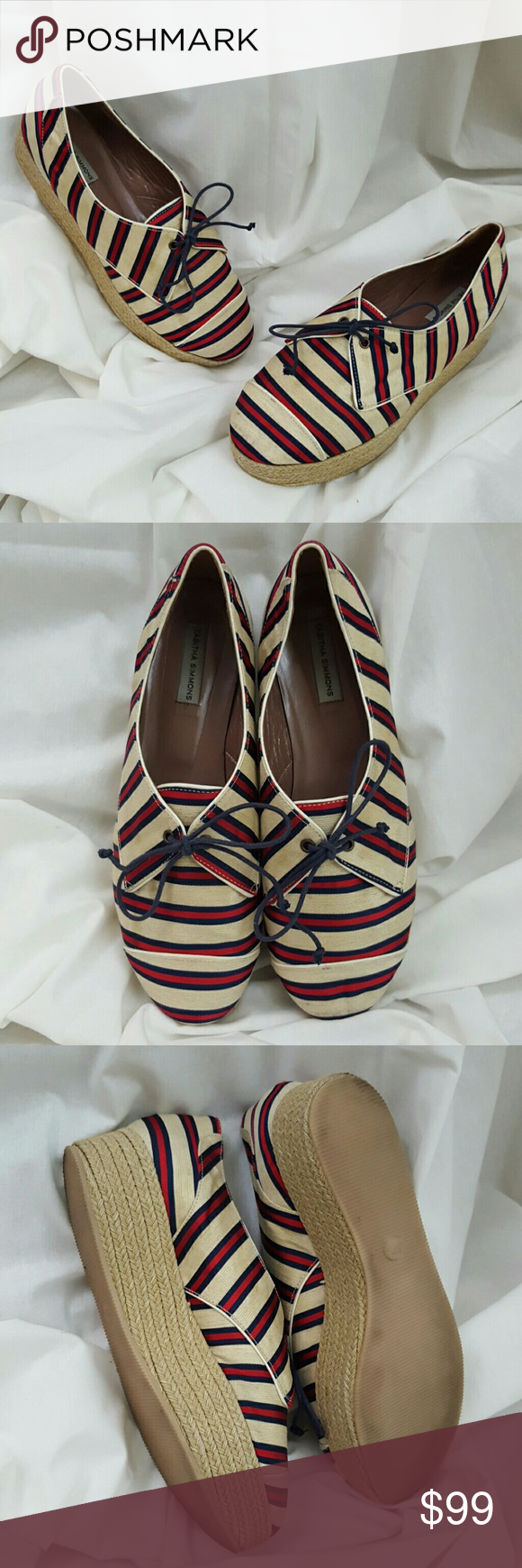 Tabitha Simmons Striped Satin Espadrilles Size 7 These are amazing. Seriously. Jeans to dresses, skinnies or capris....It doesn't matter - these work! They are a beautiful edition to any wardrobe! Tabitha Simmons Shoes Platforms