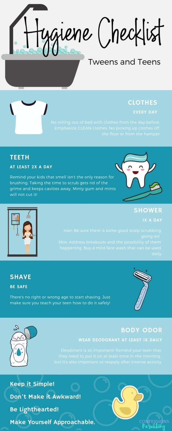 Pin It! The Best Hygiene Checklist for Your Teen. Is your tween getting a little bit stinky? We have the perfect teenage hygiene talking points to help get talking with your teenager! #teen #hygiene #parenting #tips #hygienechecklist
