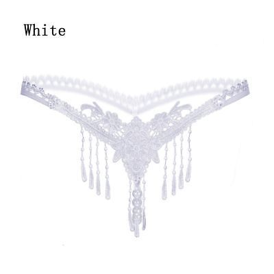 cff9d9923d48 Pearl Lace G-string Open Crotch Crotchless Underwear Tassels Thongs Panties