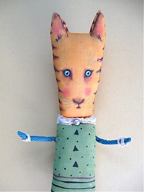 Tonia cat doll- ooak art doll- orange cat- striped kitty- folk art doll- sweet cat