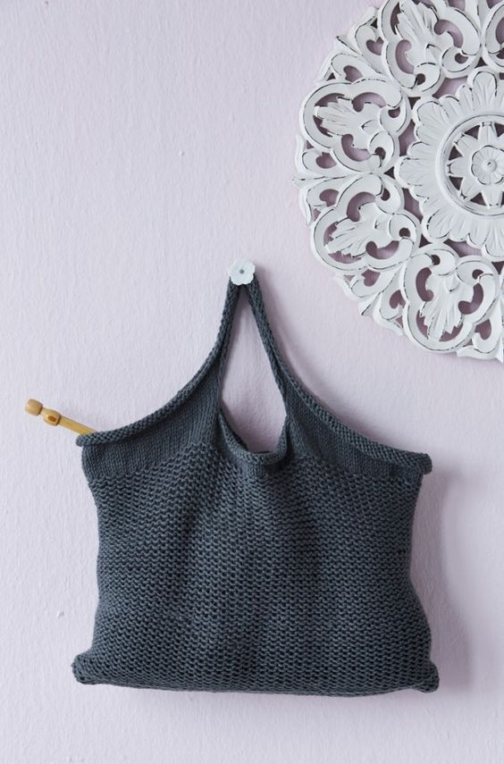 Free knitting pattern for tote bag | knitting | Pinterest | Knit ...
