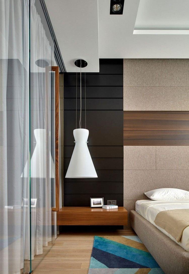 Innenarchitektur von schlafzimmermöbeln carrelage pierre naturelle comme revêtement mural tapis géométrique