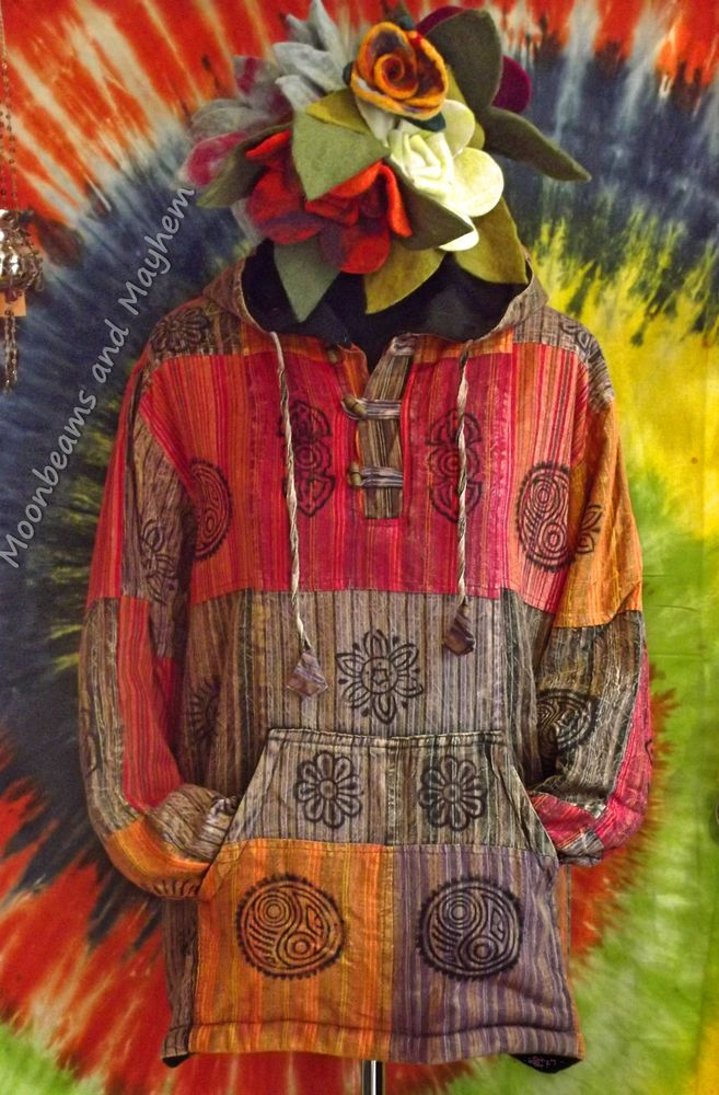 ✿⊰✿ EARTHY HIPPIE PATCHWORK FLEECE LINED HOODED TOP / JACKET ~ Various Sizes available ~ Unisex ~ £27.50 ✿⊰✿