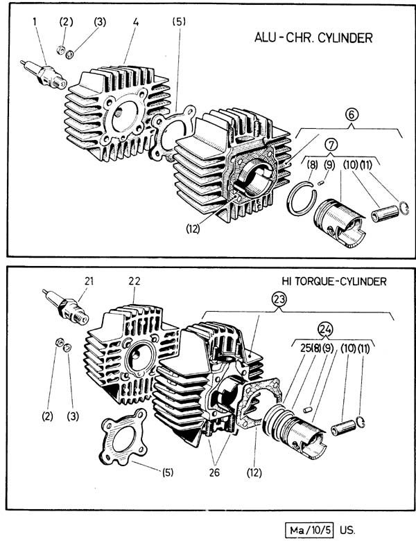 puch moped pmecp05 cylinder cover gasket for the 1 speed e50 moped engine  and 2 speed za50 engine